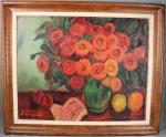 FERRANDO Augustin (1880-1957) Nature morte au bouquet de fleurs, fruits...